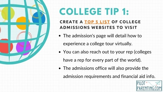 Tip 1 Make a top 5 colleges list and visit their websites