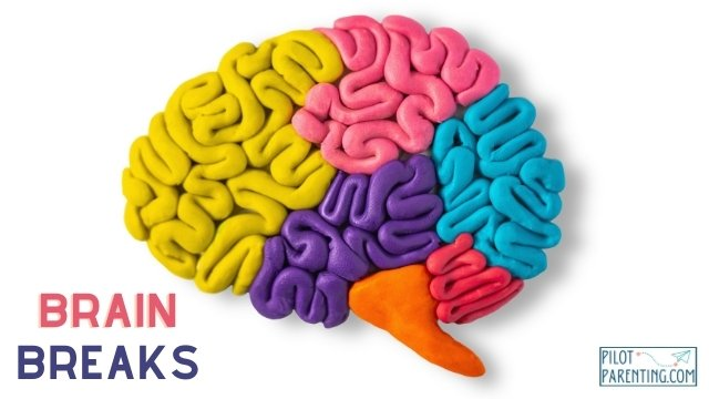 An image of a clay brain with the words brain break.